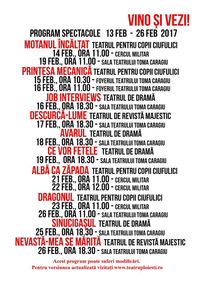 Programul spectacolelor la Teatrul