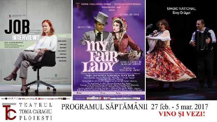 """Programul spectacolelor de la  Teatrul """" Toma Caragiu """" Ploiesti .( week-endul acesta )"""
