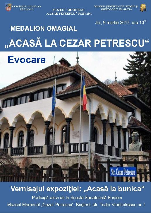 """""""Acasă la Cezar Petrescu"""" - medalion omagial."""