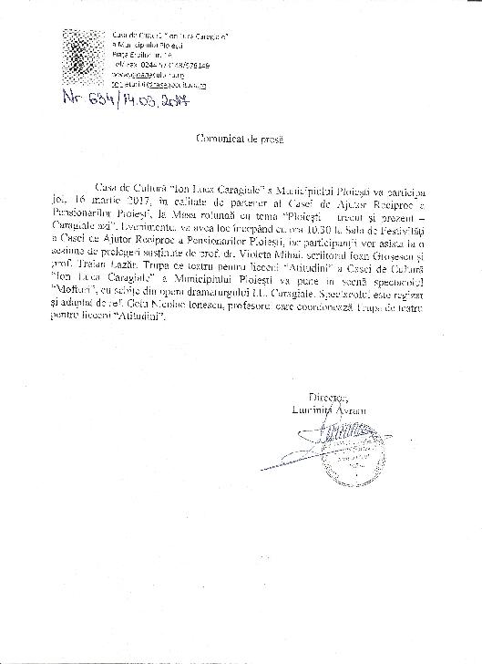 """Masa rotundă cu tema """"Ploieşti – trecut şi prezent – Caragiale azi""""."""