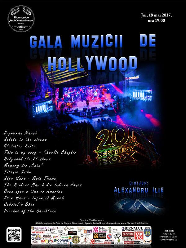 """Gala muzicii de...Hollywood la Filarmonica """" Paul Constantinescu """" Ploiesti."""