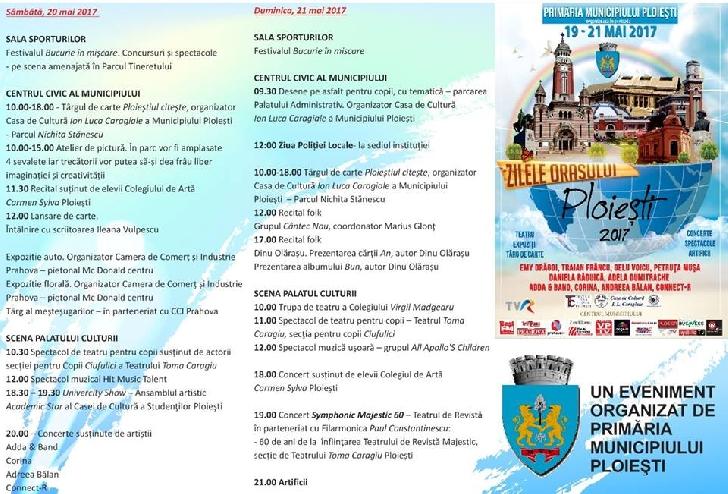 ZILELE PLOIESTIULUI 2017 .Programul evenimentelor .