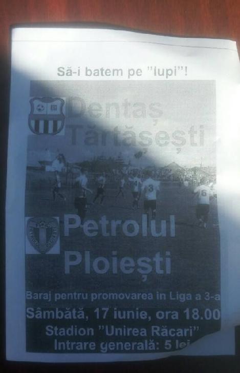 Victorie lejeră în condiţii de fotbal judeţean. Dentas Tărtăşeşti – Petrolul Ploieşti 0 – 3. (Altfel de cronică).