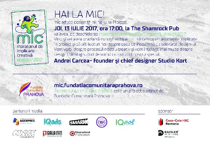 Fundaţia Comunitară Prahova organizează prima ediţie a Maratonului de Implicare Creativa / Ploiesti 2017.