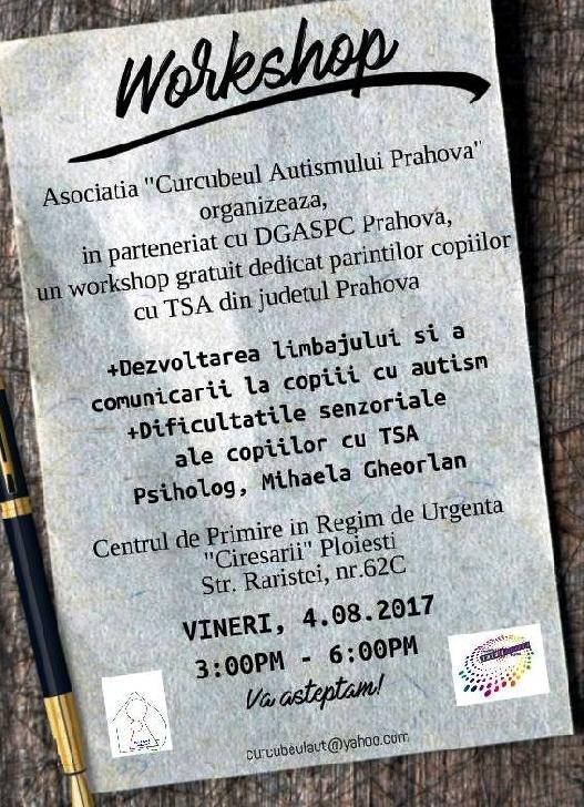Asociatia Curcubeul Autismului Prahova organizeaza in parteneriat cu DGASPC  Prahova  un workshop gratuit