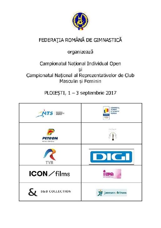 Programul oficial al Campionatului National de Gimnastica Ploiesti 1-3 Septembrie 2017