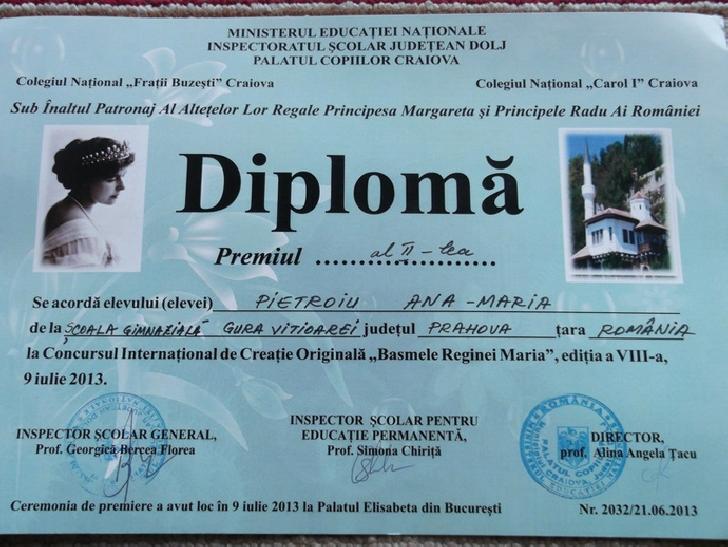 O eleva din Prahova a fost premiata de Alteţa Sa Regală Principesa Margareta.