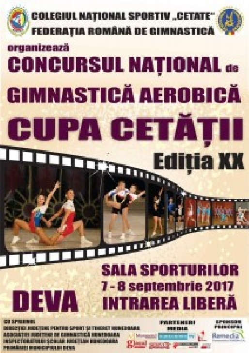 """Comunicat FRG .  Concursul Naţional de Gimnastică Aerobică  """"  Cupa Cetăţii """" va avea loc la Deva"""