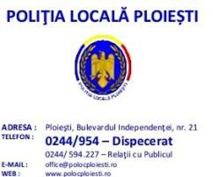 Activitatea Poliţiei Locale Ploieşti în perioada 18-21 septembrie 2017