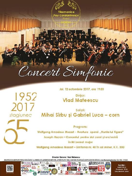 """CONCERT SIMFONIC - """"Clasici în concert"""" la Filarmonica Paul Constantinescu Ploiesti"""