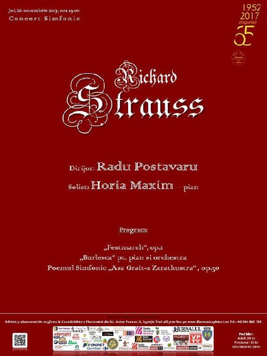 """Un nou CONCERT SIMFONIC din ciclul  """"Integrala lucrărilor simfonice de Richard Strauss"""""""