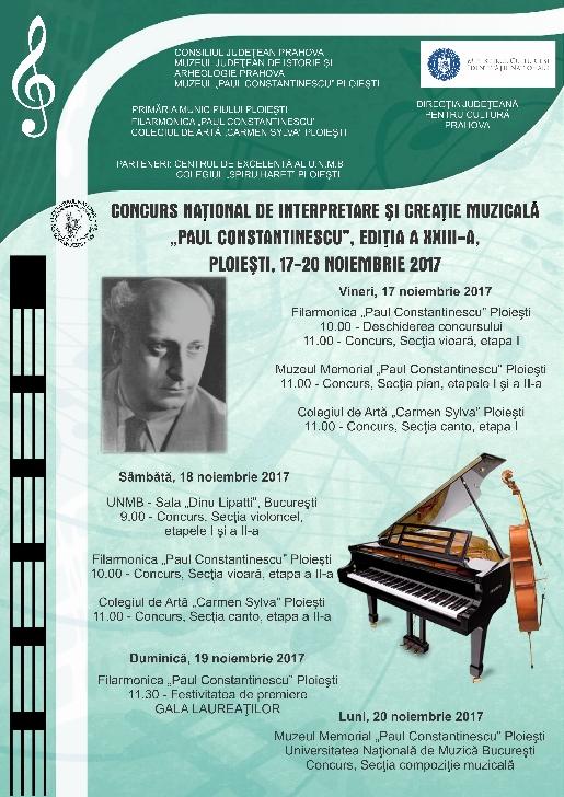 """Concursul Naţional de Interpretare şi Creaţie Muzicală """"Paul Constantinescu"""" (editia XXIII-a )"""