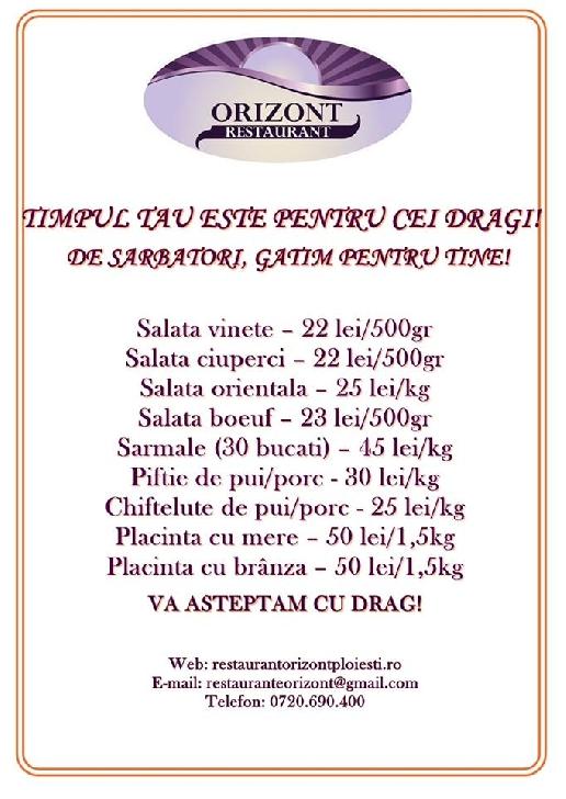 Restaurant Orizont Ploieşti – oferte imbatabile pentru meniul de sărbători