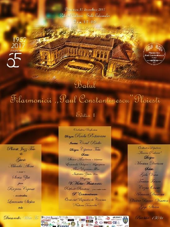 Balul Filarmonicii va avea loc pe data de 17 decembrie, la Sala Coloanelor a  Palatului Culturii