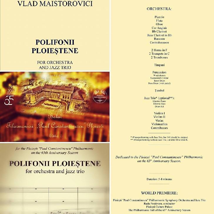 """""""Polifonii Ploieştene"""" - Primă audiţie absolută - O piesă scrisă special pentru """"BALUL Filarmonicii"""" si Filarmonica """"Paul Constantinescu"""""""