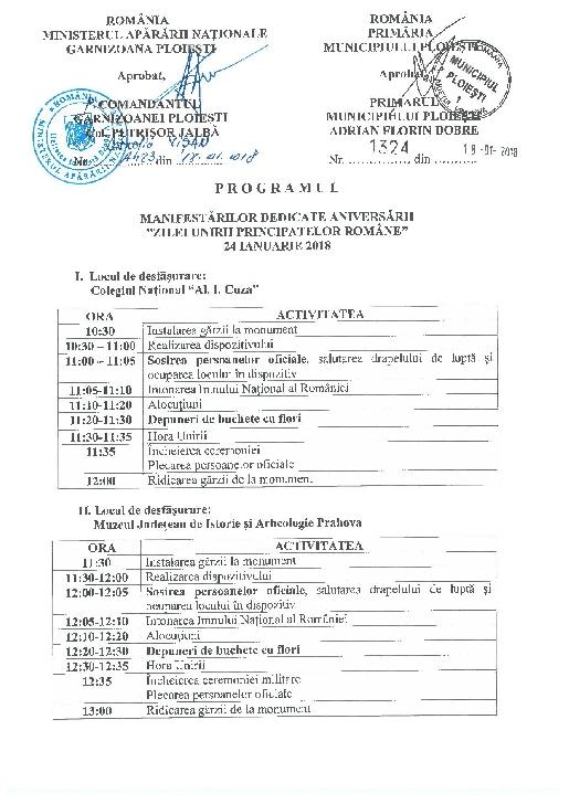 Primaria mun. Ploiesti-Programul activitatilor din  24 ianuarie 2018 ( Ziua Principatelor Romane )