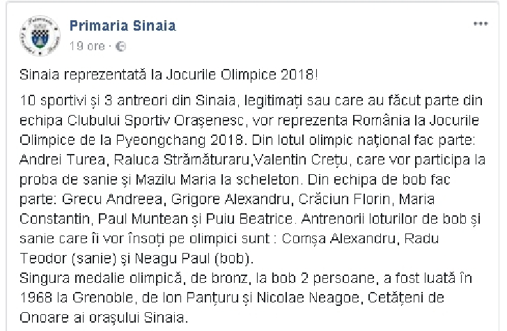 Orasul Sinaia este reprezentat la Jocurile Olimpice 2018