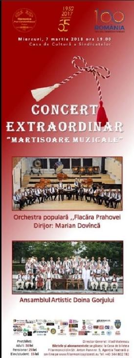"""Concert extraordinar """" martisoare muzicale """" la Casa de Cultura a Sindicatelor Ploiesti"""