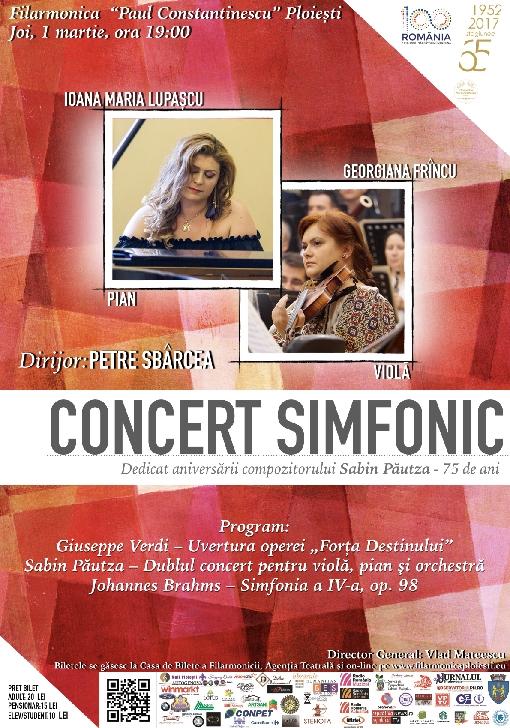 Concert simfonic dedicat aniversării a 75 de ani a marelui muzician român Sabin Păutza