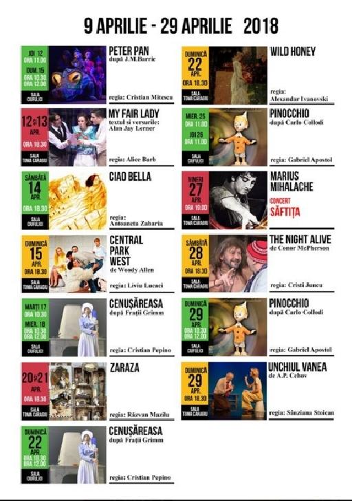 Spectacolele lunii aprilie la Teatrul