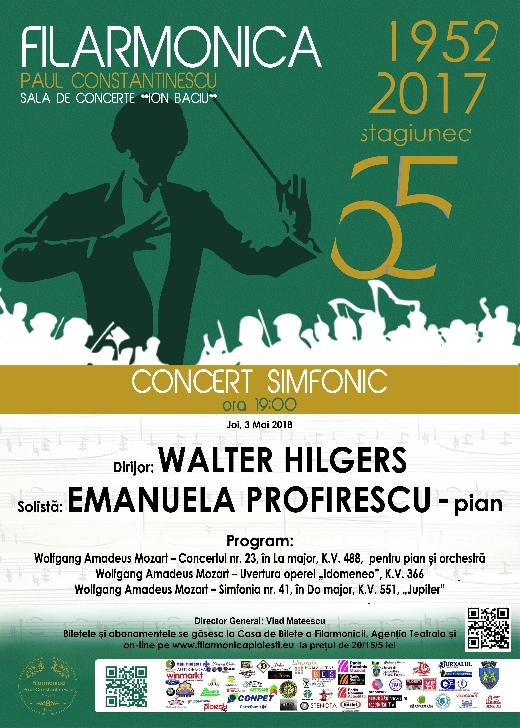 """Maestrul Walter Hilgers revine joi, 3 mai 2018, la pupitrul dirijoral al Orchestrei Simfonice a Filarmonicii """"Paul Constantinescu"""""""