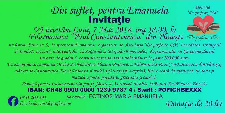 COMUNICAT DE PRESĂ . DIN SUFLET, PENTRU EMANUELA