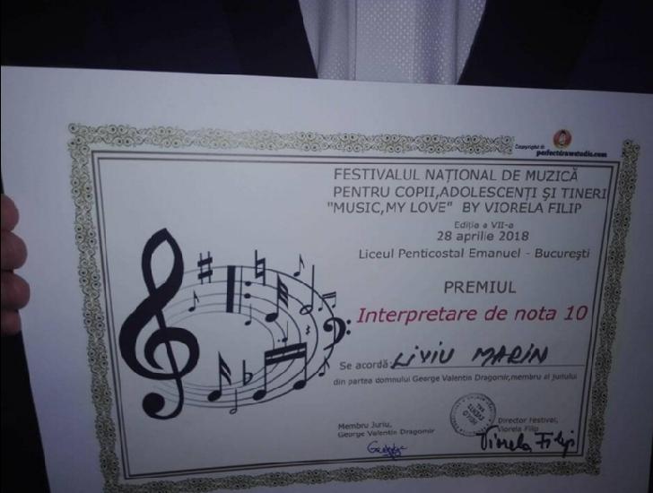 """Comunicat . Ploiesteanul Liviu Marin,trei premii speciale la Festivalul """"Music,my Love """" de la Bucuresti"""