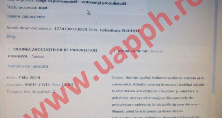 UAP a castigat procesul cu Rosal. Instanta obliga operatorul sa colecteze deseurile din camerele de precolectare