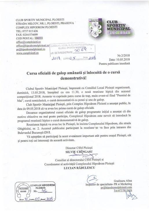 Hipodromul Ploieşti va găzdui cea de-a doua reuniune oficială a sezonului