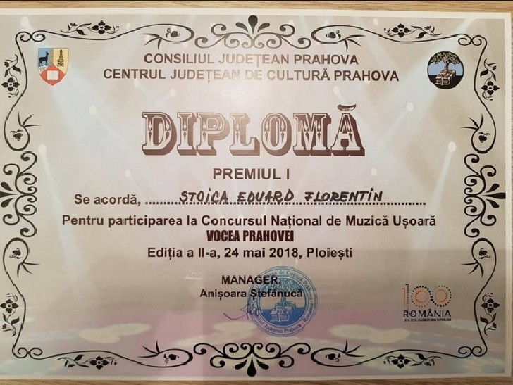 """Florentin Eduard Stoica - locul 1, la Festivalul """"Vocea Prahovei"""""""