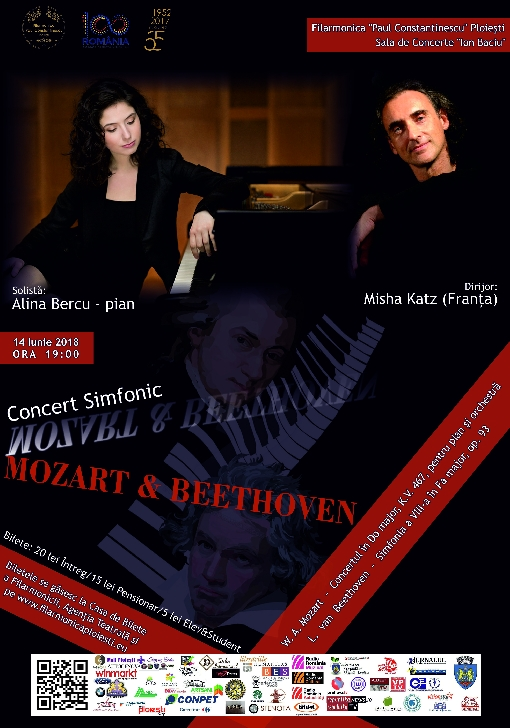 "Azi la Filarmonica ""Paul Constantinescu "".CONCERT SIMFONIC ""Mozart & Beethoven"""