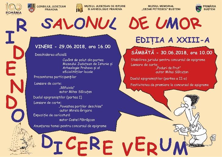 """Muzeul Memorial """"Cezar Petrescu"""" din Buşteni organizează  Salonul de Umor """"RIDENDO DICERE VERUM"""