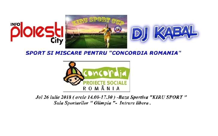 Joi,26 iulie a.c.,facem sport si miscare pentru copii de la Organizatia Umanitara Concordia Romania