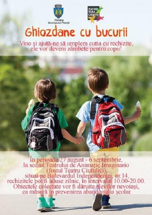 "Teatrul ""Toma Caragiu "" Ploiesti lanseaza campania ""Ghiozdane cu bucurii"""