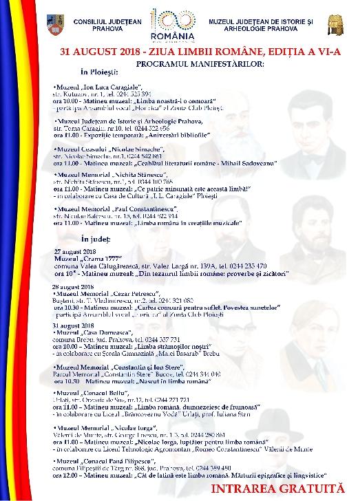Zilele  Limbii Române la muzeele din Prahova  .Programul evenimentelor