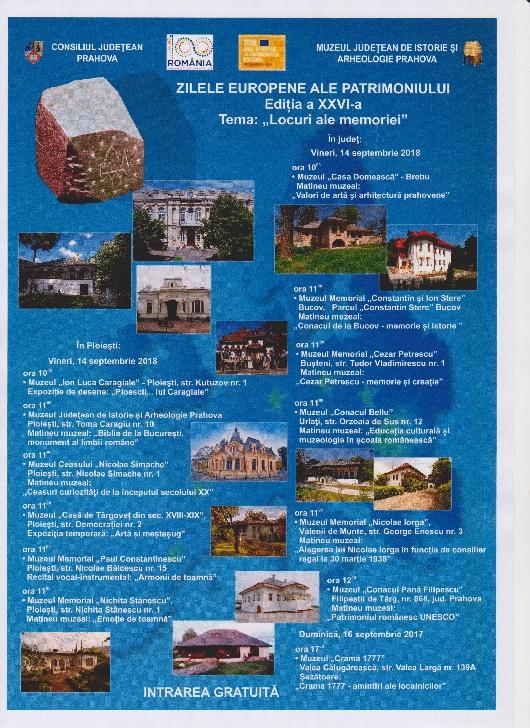 Zilele Europene ale Patrimoniului la muzeele din Prahova.Programul evenimentelor