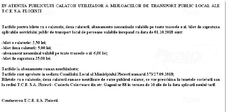 De azi s-au scumpit biletele  pe mijloacele de transport in comun ale TCE Ploiesti