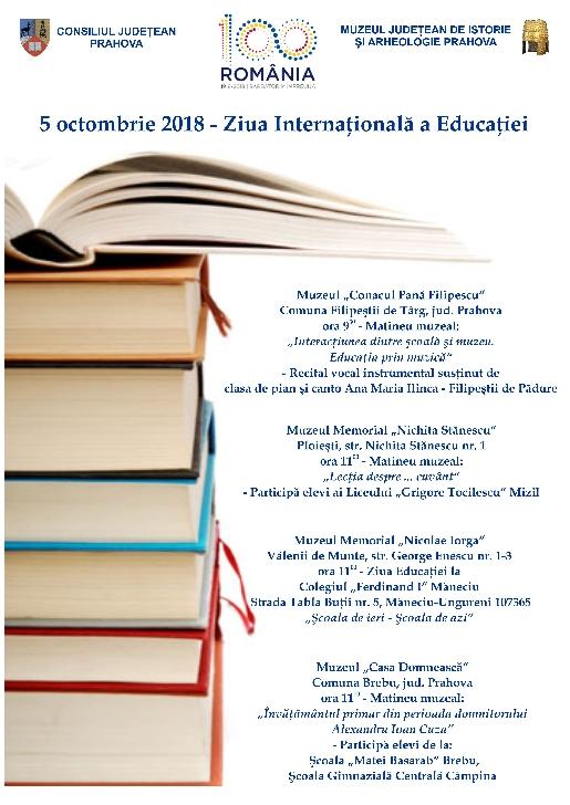 Manifestari culturale menite să celebreze Ziua Internaţională a Educaţiei la muzeele din Prahova