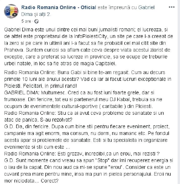 Interviu cu ziaristul Gabriel Dima,pentru Radio Romania Online . Genul de prieten care te ajuta sa ascunzi un cadavru