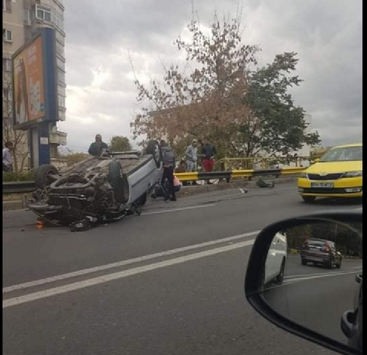 Accident in lant,pe podul din Bariera Bucuresti