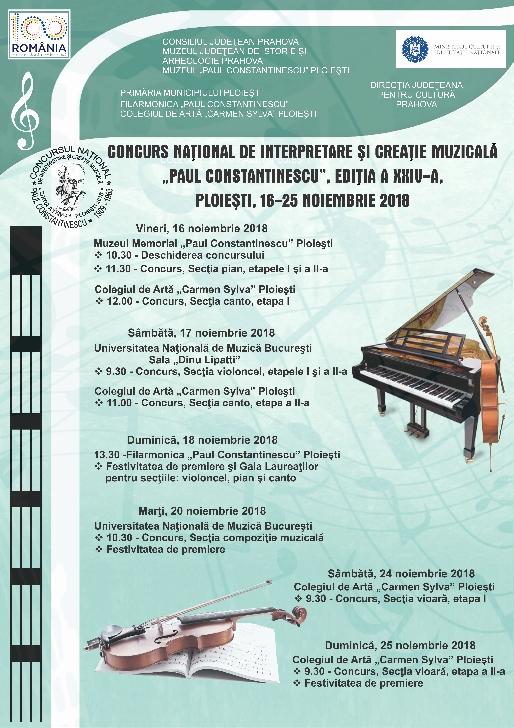 """Concursul Naţional de Interpretare şi Creaţie Muzicală """"Paul Constantinescu"""" (editia XXIV-a )"""