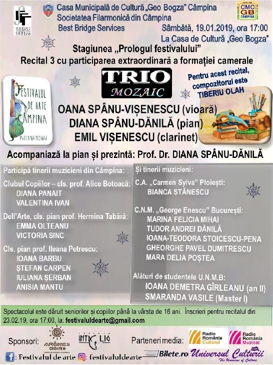"""Stagiunea """"Prologul festivalului"""" – Recital 3 cu participarea extraordinară a ansamblului cameral TRIO Mozaic"""