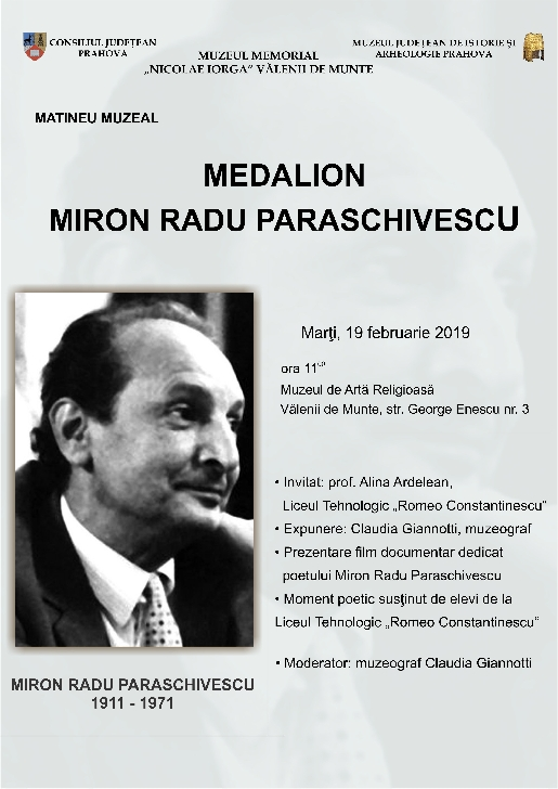 "Matineu muzeal ""Medalion Miron Radu Paraschivescu"""