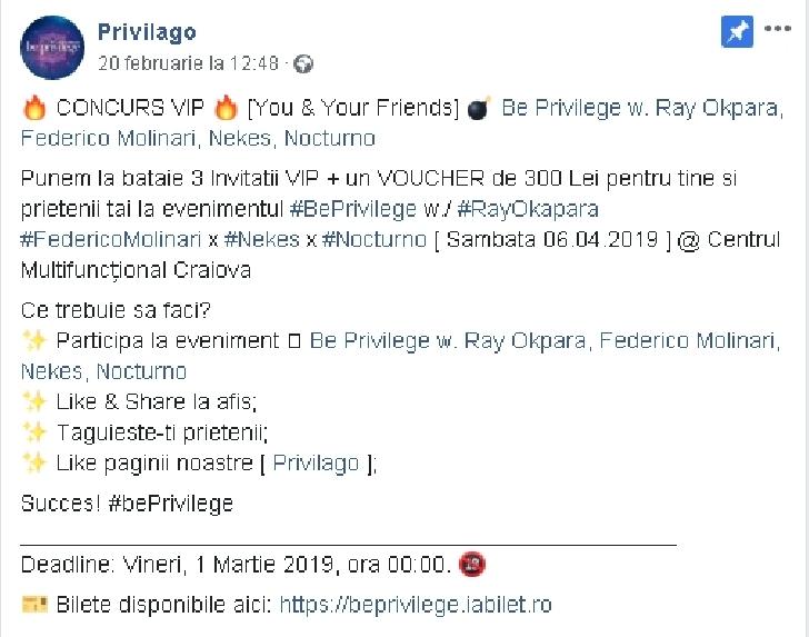 """Privilago continuă frumoasa poveste începută acum 2 ani sub egida """"Privilege"""""""