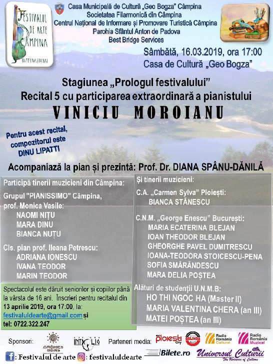 """Stagiunea """"Prologul festivalului"""" – Recital 5 cu participarea extraordinară a pianistului Viniciu Moroianu"""