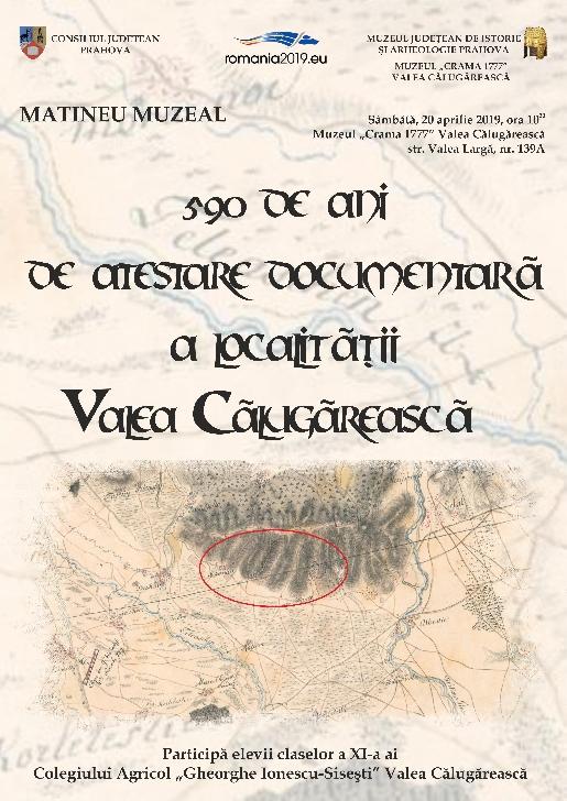 """590 de ani de atestare documentară a localităţii Valea Călugărească la Muzeul """"Crama 1777"""""""