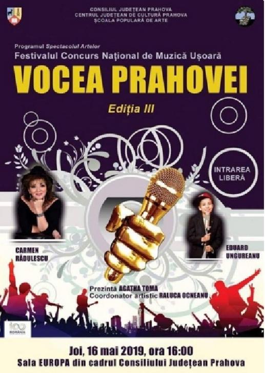 """Preselectie pentru cea de-a treia ediţie a Festivalului-Concurs Naţional de Muzică Uşoară """"Vocea Prahovei"""""""
