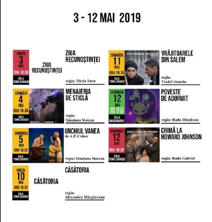 """Spectacolele Teatrului """"Toma Caragiu"""" Ploiesti,în perioada 3-12 mai"""