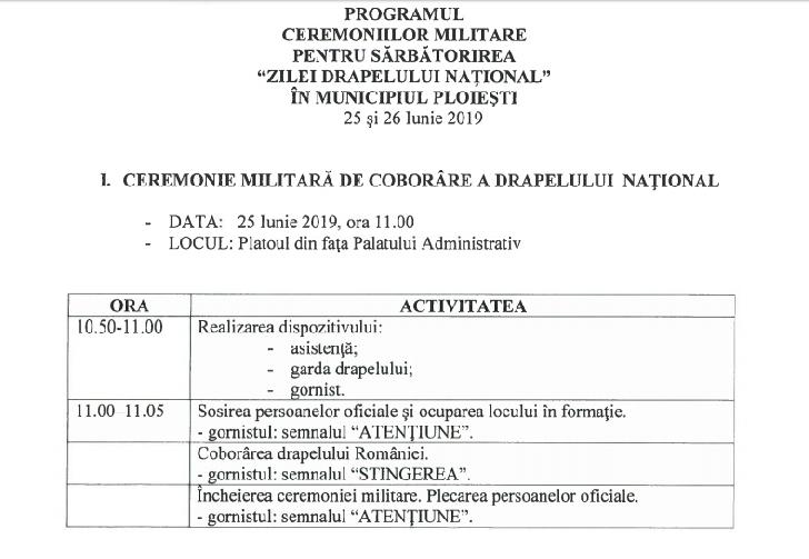 PROGRAMUL CEREMONIILOR MILITARE PENTRU SARBATORIREA