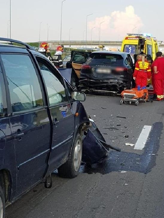 Accident in apropierea pasarelei de la Blejoi